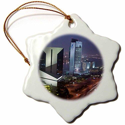 3dRose orn_71140_1 UAE, Dubai, Deira, Baniyas Road, City Skyline AS44 WBI0343 Walter Bibikow Snowflake Ornament, Porcelain, 3-Inch by 3dRose