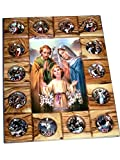 Holy family with Stations of the Cross Icon plaque all in Olive wood from Bethlehem (29 x 24 cm or 11.5 x 9.5 inches)