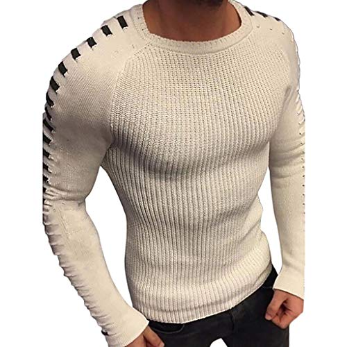 Men's Christmas Solid Sweater Autumn Winter Long Sleeve Knitted Christmas Blouse Jumper Top T-Shirt Blouse (White, XL)