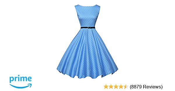 42bd93c1f5f6c0 GRACE KARIN Boatneck Sleeveless Vintage Tea Dress Belt at Amazon Women s  Clothing store