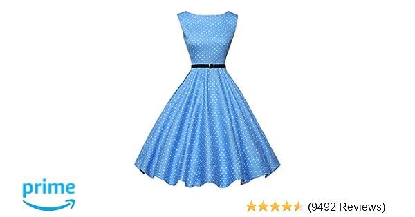 4c722c8135c6 GRACE KARIN Boatneck Sleeveless Vintage Tea Dress with Belt at Amazon  Women's Clothing store:
