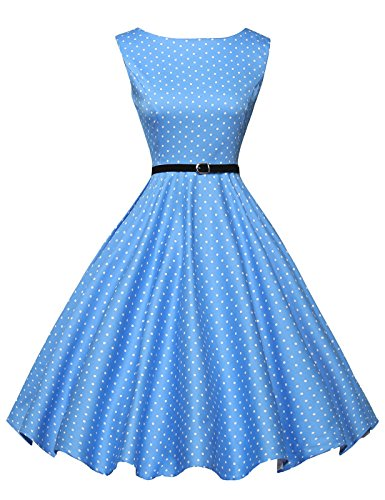 Vintage Polka Dots Swing Dress for Women Sleeveless Size L F-1