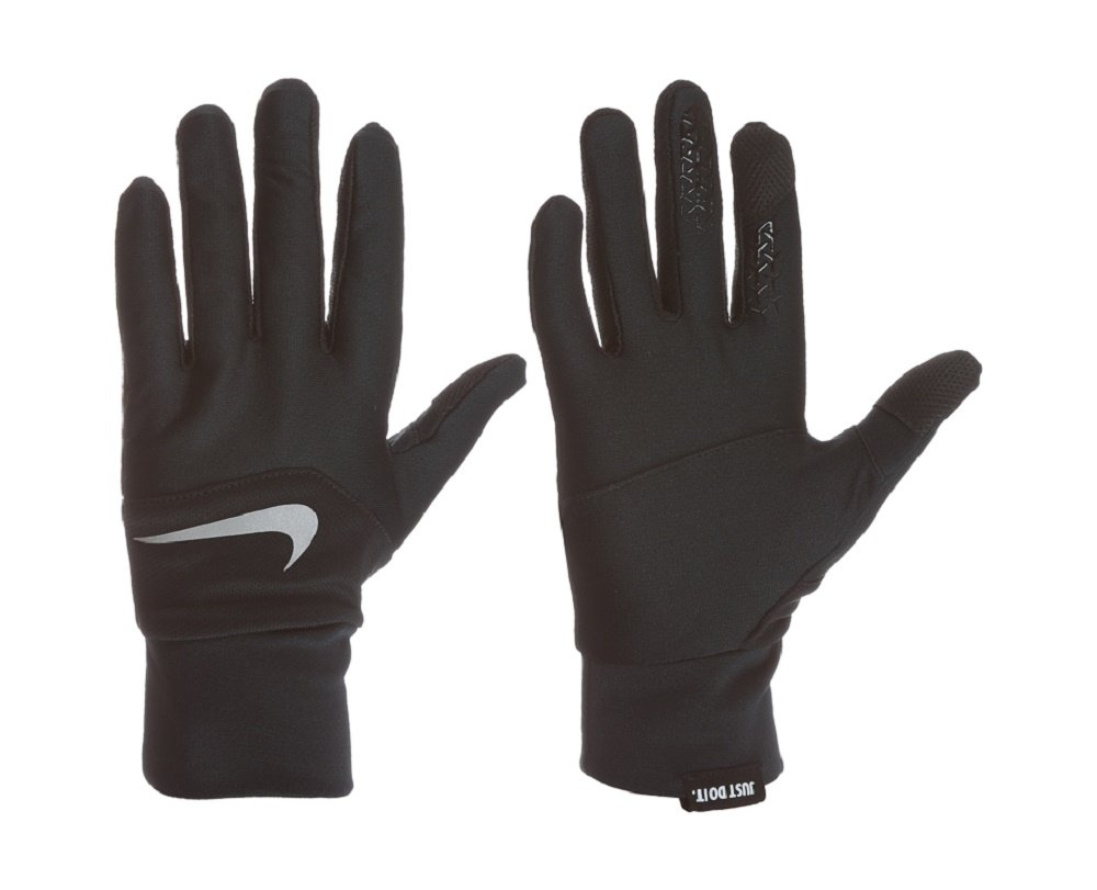 Nike Women's Dri-Fit Tempo Run GLoves, Large (Black/Silver) by Nike (Image #1)