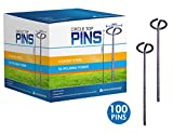 Sandbaggy Circle Top Pins 6-inch ~ Landscape Staples SOD Staples Garden Stakes Weed Barrier Pins by (100 Pins)
