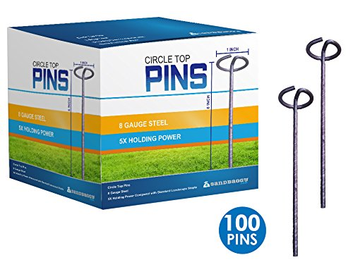 Sandbaggy Circle Top Pins 6-inch ~ Landscape Staples SOD Staples Garden Stakes Weed Barrier Pins by (100 Pins) by Sandbaggy