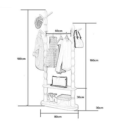 Amazon.com: LIANGJUN Floor Standing Wooden Coat Hat Rack ...