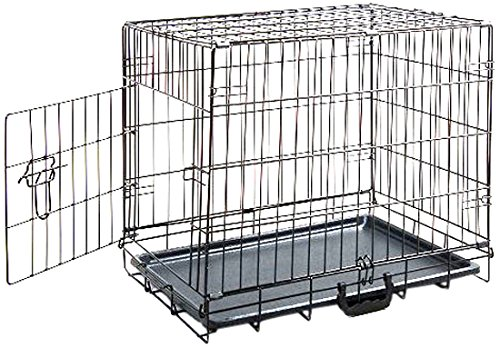 MDOG2 24 by 18 by 20-Inch Folding Metal Dog Crate with Divider Panel, Small, Black