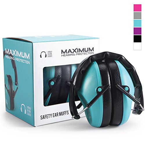 (Pro For Sho 34dB Shooting Ear Protection - Special Designed Ear Muffs Lighter Weight & Maximum Hearing Protection - Standard Size, Teal)