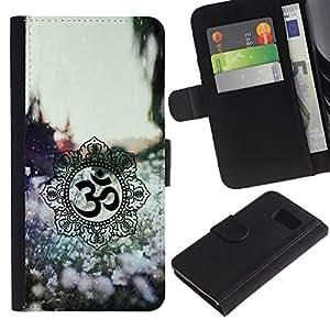 Paccase / Billetera de Cuero Caso del tirón Titular de la tarjeta Carcasa Funda para - Symbols Spring Nature Flowers - Samsung Galaxy S6 SM-G920