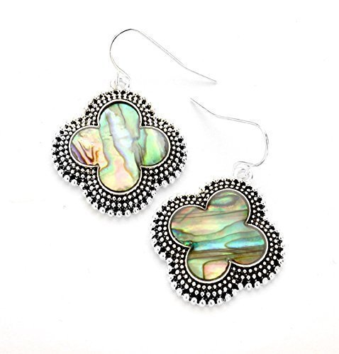 - Abalone Shell clover antique silver earrings, drop earrings, abalone jewelry, jewel tone earrings, clover jewelry, silver clover earrings