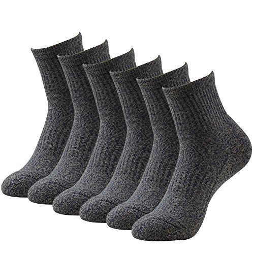 Quarter Gray Socks (Men's Work Crew Socks, LANDUNCIAGA Winter Cushion Running Low Quarter Tennis Casual Thick Warm Soft Mens Performance Socks 3 Pairs, Coffee)