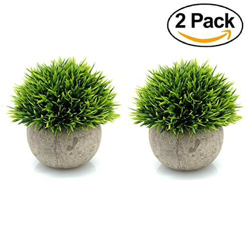 Maikai Products 2-pack Artificial Potted Green Grass. 5'' Tall x 5'' Wide Mini Size. Minimalist. Long lasting. Decorative fake grass plant in pots for home office indoor bathroom kitchen table decor
