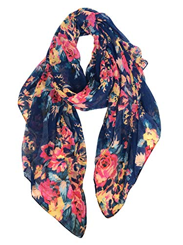 GERINLY Spring floral Scarfs for Women Flowers Print Headwraps Soft Hijab (Blue)