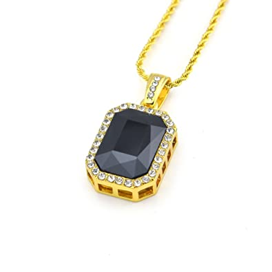 5f00a55374fa7 Huangiao Mens 14k Gold Plated Iced Out Octagon Hip Hop Ruby Pendant ...