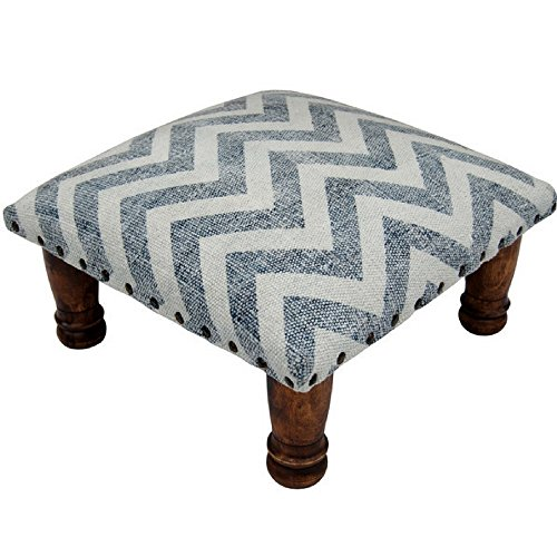 Herat Oriental Handmade Printed Cotton Upholstered Wooden Footstool, Chevron Pattern by Herat Oriental