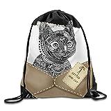 Drawstring Backpack Art Design Print Rucksack Shoulder Bags Gym Bag Hip Hop Brooklyn Grit 2017 Slogan Statue Of Liberty 17''x14''