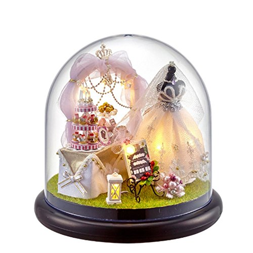 Flever Dollhouse Miniature DIY House Kit Creative Room With Furniture and Glass Cover for Romantic Artwork Gift(Romantic Fairy Tale Love)