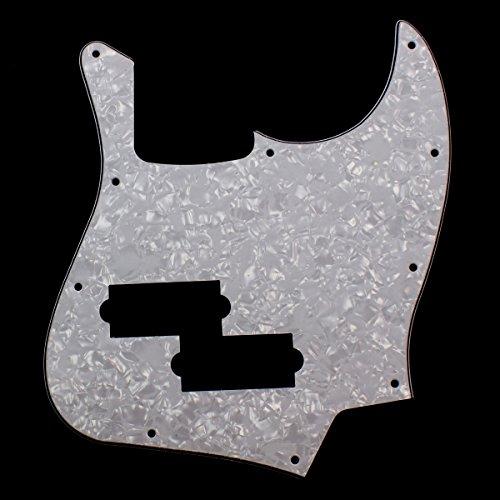 Jazz Bass Black Top Style Guitar Pickguard w/ PB Pickup hole ,4ply White -