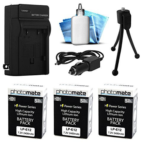 (3 Pack) PhotoMate LP-E12 LPE12 Ultra High Capacity Rechargeable Battery (2400mAh) + Rapid Home AC Wall Charger + Car Adapter + Euro Plug + Cleaning Kit + Mini Tripod for Canon EOS M, EOS-M, M2, EOS-M2, Rebel SL1, 100D DSLR Digital Camera