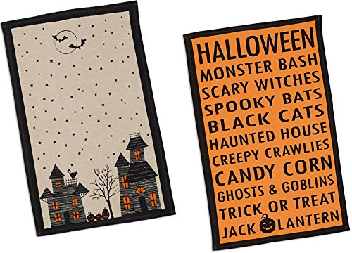 DII Haunted Hollow Halloween Printed Kitchen Towels, Set of 2 ()