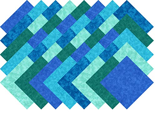 Blue Blender Collection 40 Precut 5-inch Quilting Fabric Charm Squares