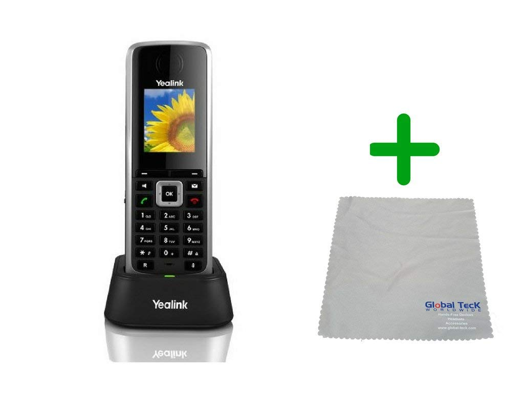 Global Teck Bundle of Yealink W52H IP Cordless Office Phone with Power Supply, Microfiber Cloth   Requires VoIP Service - Vonage, Ring Central, 8x8, Mitel or Cloud Services by Global Teck Worldwide