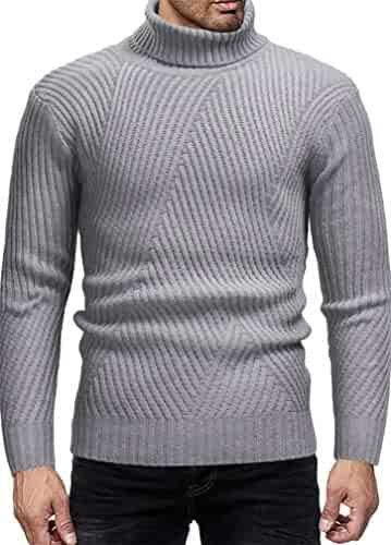 Cromoncent Mens Jumper Pullover Solid Color Fall//Winter Knit Stretchy Sweaters