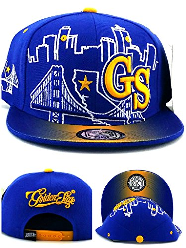 Leader of the Game Golden State New GS Skyline 3 Bridge Warriors Colors Blue Gold Era Snapback Hat Cap