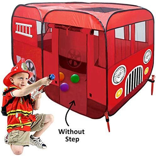 Fire Truck Pop-Up Play Tent (Without Step) for Easy Access for Toddlers - Children Can Pretend Play Fireman Sam - Use Indoor / Outdoor - Can Fit Crib Bed for Fire Engine Playhouse for Boys Girls Kids
