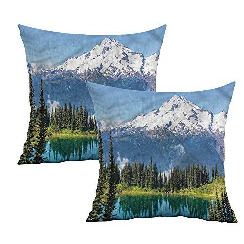 Khaki home Landscape Square Custom Pillowcase Majestic Glacier Peak Square Travel Pillowcase Cushion Cases Pillowcases for Sofa Bedroom Car W 24