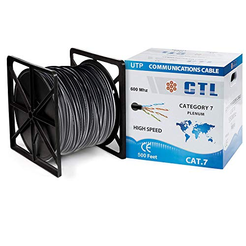(10-GIG CAT7 Plenum Solid Copper Shielded Foil Twisted Pair (SFTP) 500 Ft- 10gbe Cable for Speedy Data Transfer and Efficient Connection for LAN Networks - Black)