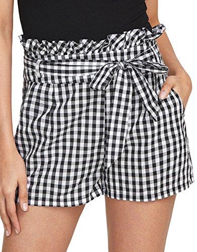 Romwe Women's Casual Summer Walking Shorts Ruffle Waist Shorts Black S - Gingham Belt