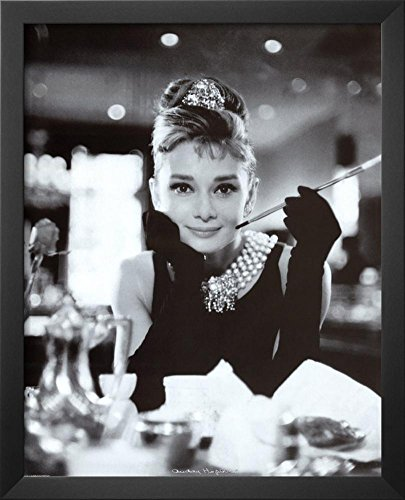 Professionally Framed Audrey Hepburn Breakfast at Tiffany's Movie Poster - 16x20 with RichAndFramous Black Wood Frame