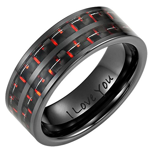 Willis Judd New Mens 8mm Double Row Red Carbon Fiber Black Ceramic Ring with Velvet Ring (Double Row Engraved Band)