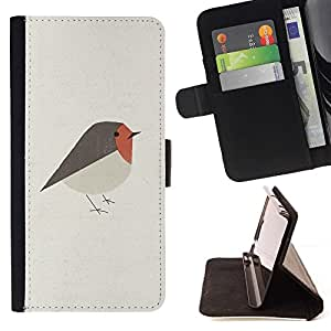 For Sony Xperia M2 Bird Art Cute Red Grey Beautiful Print Wallet Leather Case Cover With Credit Card Slots And Stand Function