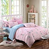 Yunr Lightweight Polyester Microfiber Duvet Cover Set #65292;Pink Blue Doll Cute Girls Print Floral