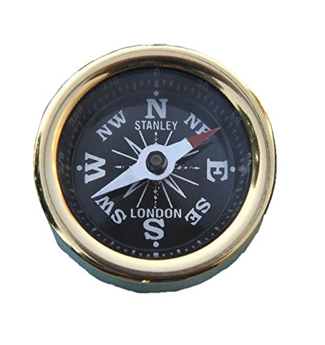 Stanley London Solid Brass Plain Smooth Pocket Compass (Compass Accurate)