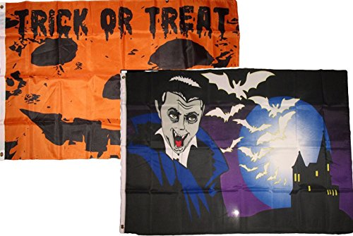 ALBATROS 3 ft x 5 ft Happy Halloween 2 Pack Flag Set Combo #37 Banner Grommets for Home and Parades, Official Party, All Weather Indoors Outdoors