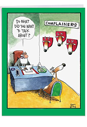 Big Sized 'Complainers' Merry Christmas Card with Envelope 8.5 x 11 Inch - Funny Santa And Reindeer Comic - Happy Holidays Greeting Card and Notecard Stationery J1540XSG ()