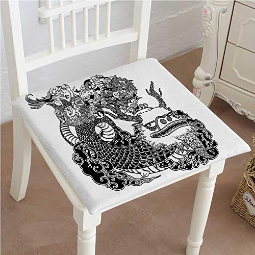 Mikihome Dining Chair Pad Cushion Mythological Dragon Japanese Legend Folk Tale Fantastic Animal Illustration Black White Fashions Indoor/Outdoor Bistro Chair Cushion 26''x26''x2pcs by Mikihome