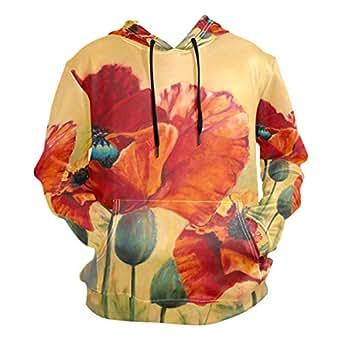 362db7975 LORVIES Unisex Red Flower Pullover Hoodie Hooded Sweatshirt at ...
