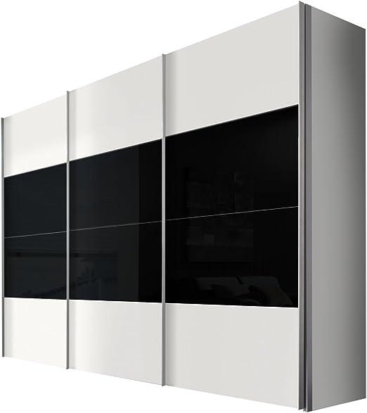 Solutions 49620 – 321 – Armario de Puertas correderas (3 Puertas, Estructura y Frontal Color Blanco, Cristal Negro, Mango Listones alufarben, 68 x 300 x 216 cm: Amazon.es: Hogar