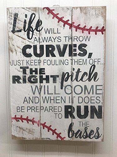 PotteLove Life Will Throw Curves Baseball Quote Reclaimed Wood Pallet Sign Home Decor 14x18