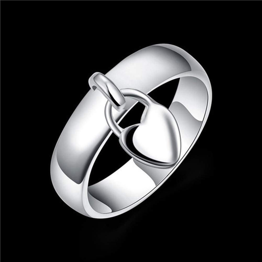 super1798 Fashion Silver Plated Heart Lock Engagement Promise Ring Charming Luxury Gift - 7 by super1798 (Image #4)