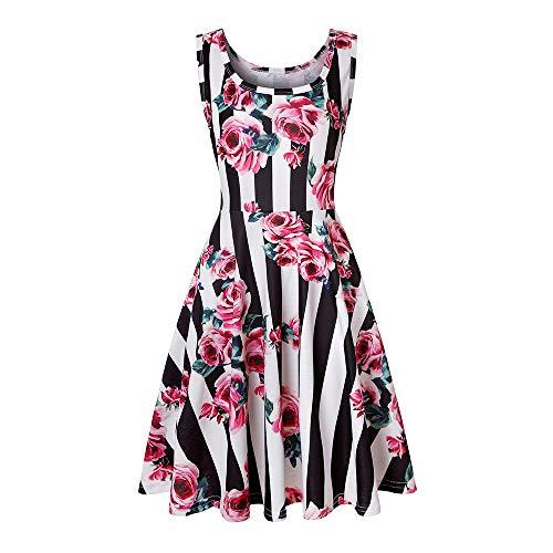 SANCABA Sleeveless Midi Dress Tank A-Line Dress Casual Floral Printed Beach Flowy Sundress