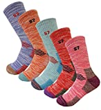 5Pack Women's Multi Performance Cushion Hiking/Outdoor Crew Socks Year Round