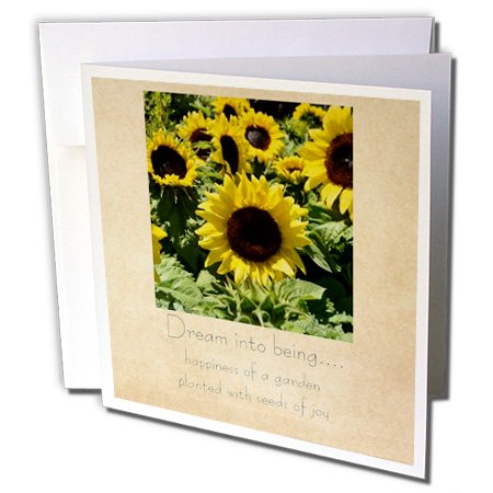 3dRose Vintage Sunflower Seeds of Joy - Greeting Cards, 6 x 6 inches, set of 6 (gc_28022_1)