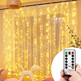 VIPMOON Window Curtain Lights,3m x 3m 300LED Warm White USB Powered 8 Modes Copper Wire Curtain Lights,Remote Control…
