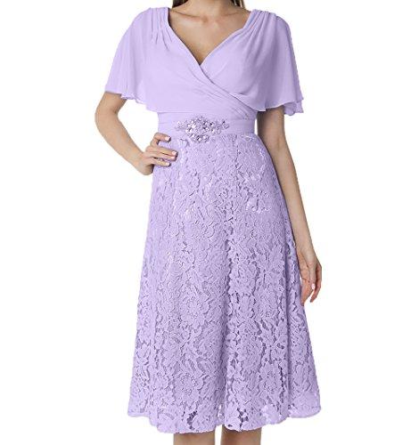 Kurzarm Knielang Lilac V Spitze Ausschnitt Partykleider Damen Abendkleider Charmant Festlichkleider Brautmutterkleider HzOtx