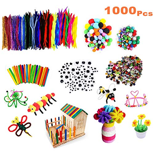 1000PCS Pipe Cleaners Craft, Arts and Crafts Supplies for Kids Includes Chenille Stems, Wiggle Googly Eyes, Pompoms, Craft Sticks, Sequins for DIY School Art Projects